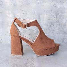 vegan suede platform peep-toe sandal - chestnut
