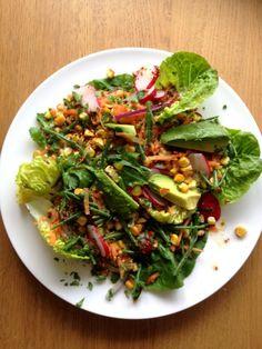 Avocado, Grilled Sweetcorn and Samphire Salad