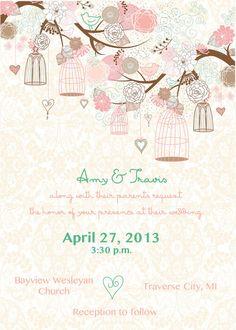 Elegant Wedding Invitation Rustic Floral by AestheticJourneys, $25.00