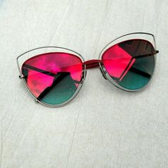 "Red Mirror Cat Eye Sunglasses Super cute metal cat eye sunglasses with red mirrored lenses! The frame is silver with red accents. Lenses are approx. 2.5"" x 2.5"". Nosepads are adjustable for comfort. Cute and and edgy look for spring and summer! Accessories Sunglasses"