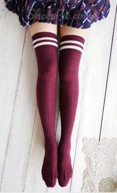 hot cotton thigh highs socks women plus size over knee socks long leg warmers meias black striped hose wholesale(China (Mainland)) Knee High Stockings, Cute Stockings, Thigh High Socks, Thigh Highs, Knee Highs, Look Fashion, Fashion Outfits, Stocking Tights, Cute Socks