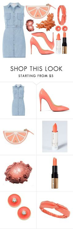 """""""denim and coral"""" by lialicious on Polyvore featuring Dorothy Perkins, Christian Louboutin, Kate Spade, Bobbi Brown Cosmetics and shirtdress"""
