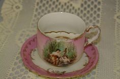 This is mine but I also have the mate of this beauty in blue but with the Temptation of Hercules picture on it. Royal Bavarian Pink Moustache cup Ladies in the forest