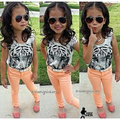 Tiger shirt Orange skinny jeans Baby fashion kids clothes little girl swag