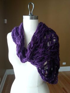 Infinity Knitted Scarf in Royal Purple by asantoyo on Etsy, $22.00