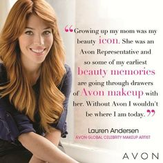 "Avon Global Celebrity Makeup Artist Lauren Andersen is a second generation ""Avon Lady""! #IWD"