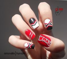 can be done using any colors depending on your school colors. (use nail pens)