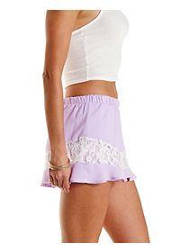 Lace Trim Chiffon Ruffle Shorts