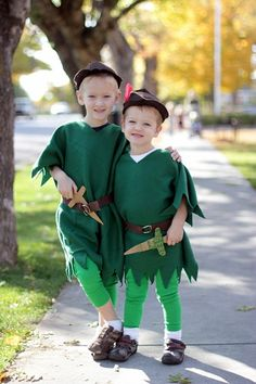 A Peter Pan costume I made for my boys that was mistaken as a Robin Hood costume about half the time.