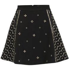 AnhHa Women's Neoprene Embellished Beaded Skater Skirt - Black ($84) ❤ liked on Polyvore featuring skirts, bottoms, saia, black, beaded skirt, circle skater skirt, neoprene skater skirt, circle skirt and flared skirt