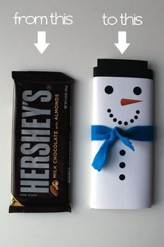 Jazzing up a plain candy bar for Christmastime with a snowman wrapper  // Via…