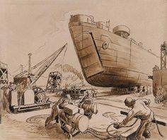 Thomas Hart Benton - (Unkown), ca. Submarine Museum, American Realism, Grant Wood, Social Realism, Submarines, Printmaking, Wwii, Illustrators, Oil On Canvas