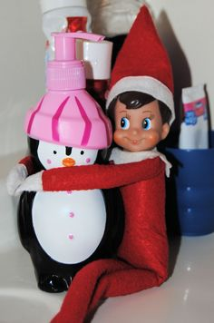 Elf On The Shelf -- Cuddles and bubbles! Penguin soap, buddy!! (Click on picture to see more great Elf On The Shelf ideas!)