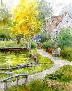 """White bench"" (Bibury, Costwolds, England) 「白いベンチ」 By Kiyoharu Narazaki, from Fukuoka-shi, Japan - watercolor - https://www.facebook.com/kiyoharu.narazaki"