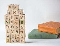 Vintage Wooden Blocks  Decorative Wooden Block Set of 29 by 4Rooms