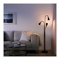 IKEA - KVART, Floor lamp with 3-spot, , You can switch each of the lamp heads on or off individually and direct the lights wherever you want so that you can, for example, use one as an uplight and the others for reading.Allows three people to sit together when reading or doing hobbies and everyone gets the good concentrated light they need for their task.