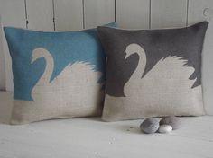 swan home decor, hessian blue and grey cushions