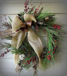Woodland Christmas Wreath with Bells Berries Burlap Bow Primitive Decor New | eBay