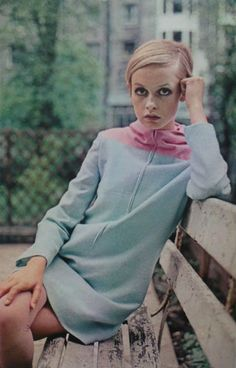 DRESSES BY TWIGGY OF LONDON 1967.The Twig feels pampered to pieces in cuddlesome, easy-living wools - all her own selections. Powdery pales, above, melt into a crusader coat-dress of tiny herringbone (with rabbit's hair added). When more coverage is called for, the cowled pink yoke becomes a full-fledged hood (35 dollars).