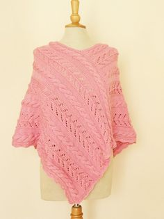 Handknitted Women Poncho Poncho in Pink Wool Poncho by evefashion, £58.00