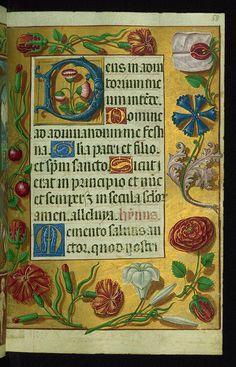 Almugavar Hours, Decorative border and incipit with flowers, Walters Manuscript W.420, fol. 58r