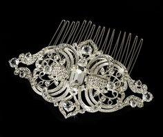 Giovanna Vintage Rhinestone Wedding Bridal Comb from Fairytale Bridal Tiara - Modern Fascinator Wedding, Bridal Hair Tiara, Bridal Hair Pins, Bridal Comb, Hair Wedding, Tiara Hair, Pearl Bridal, Dream Wedding, Blue Bridal