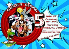 Looney Tunes Birthday Party Invitation Looney Tunes Invitation by