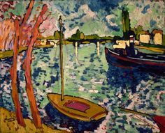 1905 – 1908 How to identify Fauvist art? Look for patches and splotches of shockingly bright colors. Woman with a Hat by Henri Matisse The River Seine at Chatou by Maurice de Vlaminck One color in particular dominates … Continue reading → Georges Braque, Georges Seurat, Henri Matisse, Andre Derain, Raoul Dufy, Modern Artists, French Artists, Fauvism Art, Maurice De Vlaminck