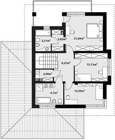 Projekt domu Korso 170,52 m2 - koszt budowy - EXTRADOM 2 Storey House Design, Modern House Design, Indian House Plans, Indian Homes, Architect House, Small House Plans, Wood Pallets, Home Projects, Planer