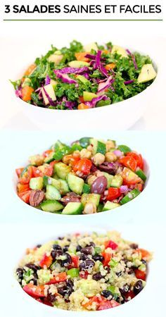Easy Cake : 3 healthy and easy salad recipes - Health Nutrition Easy Salad Recipes, Easy Salads, Pasta Recipes, Diet Recipes, Cooking Recipes, Healthy Recipes, Healthy Menu, Healthy Salads, Batch Cooking