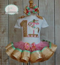 Carousel, Carnival Theme Tutu Set~Includes Top/Onesie, Tutu, and Hair Accessory~AMAZING Detail on Etsy, $72.99