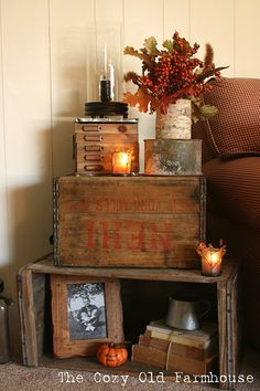 Fall inspired rustic stacked crates by The Old Farmhouse featured on www.funkyju… Fall inspired rustic stacked crates by The Old Prim Decor, Country Decor, Rustic Decor, Farmhouse Decor, Primitive Decor, Primitive Bedroom, Primitive Homes, Farmhouse Style, Primitive Antiques