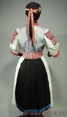 The blouse is made from cotton and features stunning openwork tambour embroidery on the sleeves. Search for us online for all your ethnic fashion needs! Folk Costume, Costumes, Embroidered Apron, Tambour Embroidery, Collar And Cuff, Ethnic Fashion, Headdress, Pageant, Dress Skirt