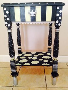 Funky hand painted end/ night table by oliviacamille on Etsy