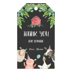 Shop Farm Thank You Favor Barnyard Zoo Party Animal Boy Gift Tags created by Anietillustration. Personalize it with photos & text or purchase as is! Farm Animal Birthday, Cowboy Birthday, Boy First Birthday, Boy Birthday Parties, Birthday Favors, Party Favors, Birthday Ideas, Barnyard Party, Personalized Gift Tags