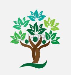 tree life: Albero genealogico persone foglie verdi. Marchio di ecologia concetto icona disegno vettoriale Vettoriali