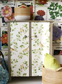 Transform utilitarian spaces (cupboards, kitchen appliances, file cabinets) by lining them (inside or out) with contact paper. Worried about putting the petal to the metal (or wood or particle board)? Don't be. It's easily removable.