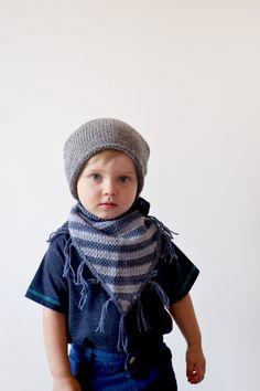 Knitted bandana bib // Blue grey striped bandana scarf toddler cowl knitted bib fringe kids bandana bib hand knit bandana onward onward (15.00 USD) by OnwardOnward