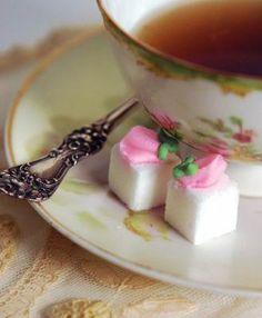 Dainty sugar cubes. $11.95 per box of twenty. Perfect for an elegant tea party.