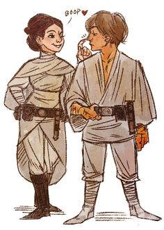 Luke Skywalker and Princess Leia art by Anissa Espinosa Star Wars
