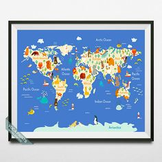 Animal World Map Print World Map Poster Animal Map by VocaPrints