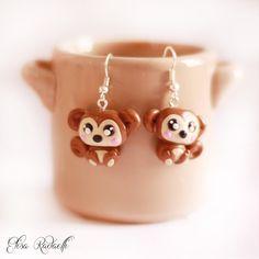 monkey earrings  polymer clay by ElisaRadaelli on Etsy, €8.00
