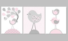 Bird Nursery Art, Grey and Pink Nursery Decor, Girls Room Decor, Girl Nursery Art, Baby Girl Decor, Chevron, Baby Shower Gift, Canvas: This is a set of the THREE prints shown above. The price includes all three prints. Prints are freshly printed to order on 69 lb commercial grade