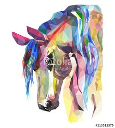 Vector: Horse head, mosaic. Trendy style geometric on white background.