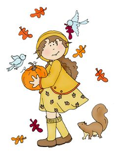 Free Dearie Dolls Digi Stamps: Fall Girl with Pumpkin