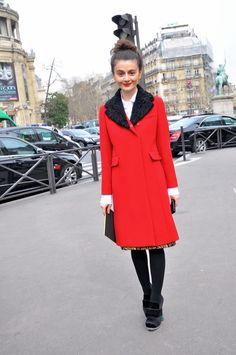 #NataliaAlaverdian and her fairly perfect red coat. Paris.