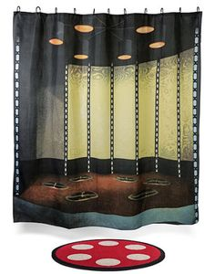 Transform your bathroom Into the Star Trek Transporter Room with this shower curtain and bath mat set