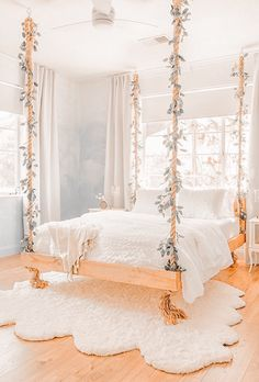 Cute Bedroom Ideas, Girl Bedroom Designs, Pretty Bedroom, Room Ideas Bedroom, Dream Bedroom, Bed Ideas, Boho Teen Bedroom, Awesome Bedrooms, Bohemian Bedroom Design