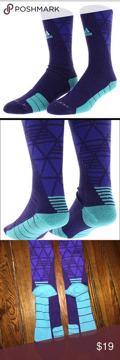 ADIDAS Traxion Team Speed RARE (sold out when i last checked) Unisex athletic high quality ribbed crew socks. Purple and turquoise. LIKE NEW . Embroidered adidas logo. I think theyre medium if there is a size but my sister took them out of og box. Good for volleyball, running track, basketball, sports, everyday Adidas Accessories Hosiery & Socks