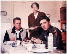grandma presley and his father Vernon and Elvis